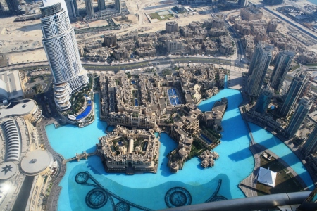 View of Dubai from 125th floor of the Burj Khalifa