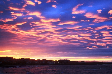 Evening sky looking towards Dunbar harbour