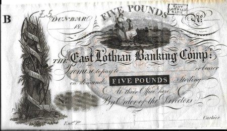 East Lothian Banking Company Five pounds front